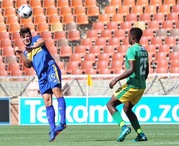 Roland Putsche of Cape Town City challenged by Nyasha Munetsi of Baroka FC during 2016 Telkom Knockout match between Baroka FC and Cape Town City at Peter Mokab Stadium, November on the 05 November 2016 © Samuel Shivambu/BackpagePix