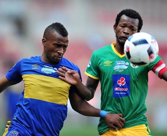 Bongolethu Jayiya of Cape Town City challenged by Dineo Shaku of Baroka FC during 2016 Telkom Knockout match between Baroka FC and Cape Town City at Peter Mokab Stadium, November on the 05 November 2016 © Samuel Shivambu/BackpagePix