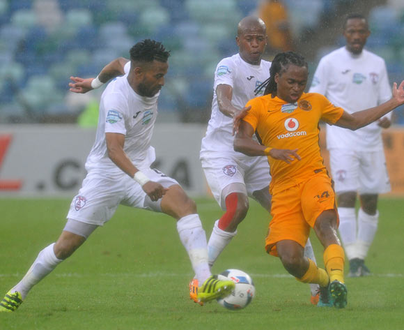 Siphiwe Tshabalala of Kaizer Chiefs challenged by Nhlanhla Vilakazi and Danny Venter of Free State Stars during the 2016 Telkom Knockout match between Kaizer Chiefs and Free State Stars at Moses Mabhida Stadium, Durban South Africa on 06 Nomvember 2016 ©Muzi Ntombela/BackpagePix