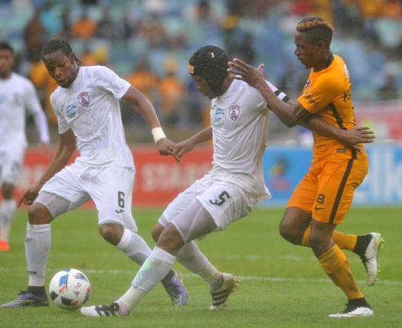 Paulus Masehe of Free State Stars shields ball from  Michelle Katsvairo of Kaizer Chiefs during the 2016 Telkom Knockout match between Kaizer Chiefs and Free State Stars at Moses Mabhida Stadium, Durban South Africa on 06 Nomvember 2016 ©Muzi Ntombela/BackpagePix