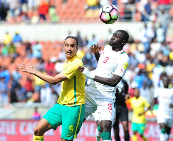 Eleazer Rodgers of South Africa challenged by Kalidou Koulibaly of Senegal during 2018 World Cup Qualifiers match between South Africa and Senegal at Peter Mokab Stadium, November on the 12 November 2016 © Samuel Shivambu/BackpagePix