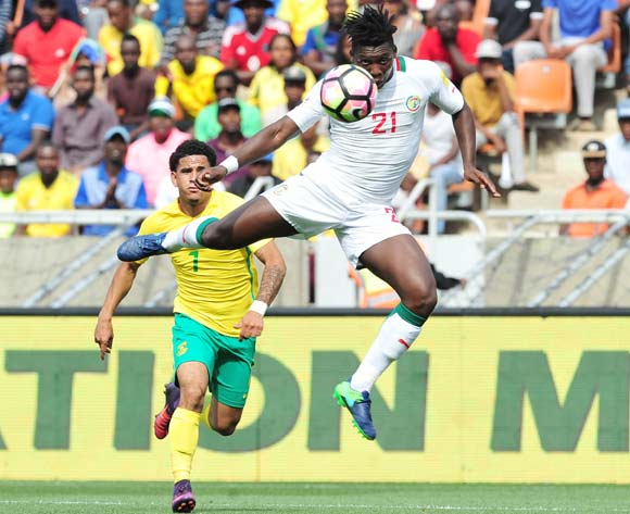 Lamine Gassama of Senegal challenged by Keagan Dolly of South Africa during 2018 World Cup Qualifiers match between South Africa and Senegal at Peter Mokab Stadium, November on the 12 November 2016 © Samuel Shivambu/BackpagePix
