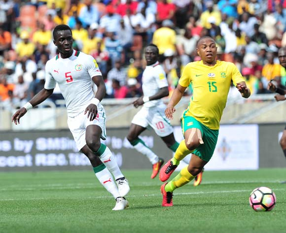 Andile Jali of South Africa challenged by Idrissa Gana Gueye of Senegal during 2018 World Cup Qualifiers match between South Africa and Senegal at Peter Mokab Stadium, November on the 12 November 2016 © Samuel Shivambu/BackpagePix
