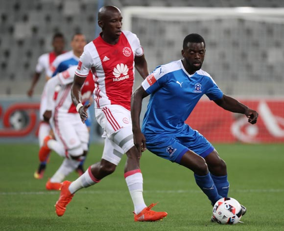 Denis Weidlich of Maritzburg United gets away from Mark Mayambela of Ajax Cape Town during the Absa Premiership 2016/17 football match between Ajax Cape Town and Maritzburg United at Cape Town Stadium, Cape Town on 19 November 2016 ©Chris Ricco/BackpagePix