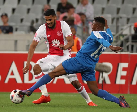 Tashreeq Morris of Ajax Cape Town evades challenge from Lebohang Maboe of Maritzburg United during the Absa Premiership 2016/17 football match between Ajax Cape Town and Maritzburg United at Cape Town Stadium, Cape Town on 19 November 2016 ©Chris Ricco/BackpagePix