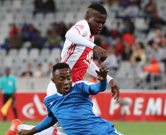 Ndiviwe Mdabuka of Ajax Cape Town tackled by Lebohang Maboe of Maritzburg United during the Absa Premiership 2016/17 football match between Ajax Cape Town and Maritzburg United at Cape Town Stadium, Cape Town on 19 November 2016 ©Chris Ricco/BackpagePix