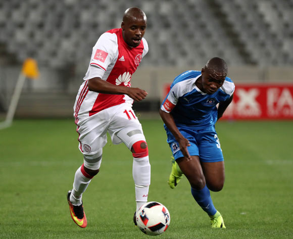 Bantu Mzwakali of Ajax Cape Town gets away from Luyanda Ntshangase of Maritzburg United during the Absa Premiership 2016/17 football match between Ajax Cape Town and Maritzburg United at Cape Town Stadium, Cape Town on 19 November 2016 ©Chris Ricco/BackpagePix