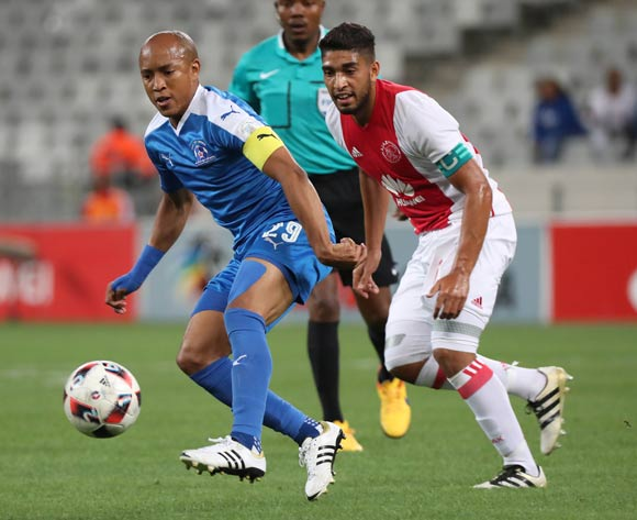 Kurt Lentjies of Maritzburg United gets away from Travis Graham of Ajax Cape Town during the Absa Premiership 2016/17 football match between Ajax Cape Town and Maritzburg United at Cape Town Stadium, Cape Town on 19 November 2016 ©Chris Ricco/BackpagePix