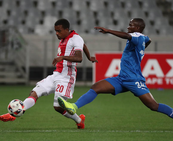 Erwin Isaacs of Ajax Cape Town evades challenge from Luyanda Ntshangase of Maritzburg United during the Absa Premiership 2016/17 football match between Ajax Cape Town and Maritzburg United at Cape Town Stadium, Cape Town on 19 November 2016 ©Chris Ricco/BackpagePix
