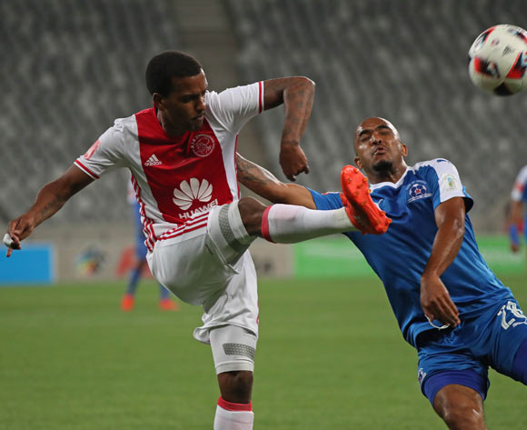 Erwin Isaacs of Ajax Cape Town and Deolin Mekoa of Maritzburg United challenge for ball during the Absa Premiership 2016/17 football match between Ajax Cape Town and Maritzburg United at Cape Town Stadium, Cape Town on 19 November 2016 ©Chris Ricco/BackpagePix