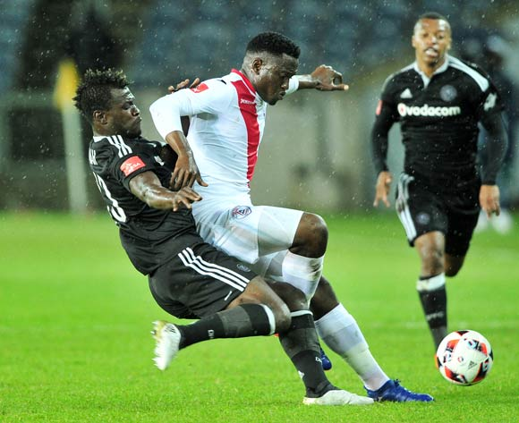 Moeketsi Sekola of Free State Stars is challenged by Edwin Gyimah of Orlando Pirates during the Absa Premiership 2016/17 game between Orlando Pirates and Free State Stars at Orlando Stadium, Johannesburg on 19 November 2016 © Ryan Wilkisky/BackpagePix