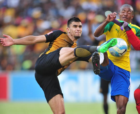 Lonrenzo Gordinho of Kaizer Chiefs challenged by Thapelo Morena of Mamelodi Sundowns during the Absa Premiership match between Mamelodi Sundowns and Kaizer Chiefs at the Loftus Stadium in Pretoria on the 19 November 2016©Samuel Shivambu/Backpagepix