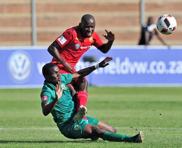 Thanduyise Khuboni of Highlands Park is fouled by Danny Phiri of Golden Arrows during the Absa Premiership 2016/17 game between Highlands Park and Golden Arrows at Makhulong Stadium, Johannesburg on 20 November 2016 © Ryan Wilkisky/BackpagePix