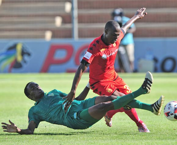 Khethukuthula Zwane of Highlands Park is fouled by Danny Phiri of Golden Arrows during the Absa Premiership 2016/17 game between Highlands Park and Golden Arrows at Makhulong Stadium, Johannesburg on 20 November 2016 © Ryan Wilkisky/BackpagePix
