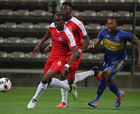 Blessing Moyo of Maritzburg United gets away from Lehlohonolo Majoro of Cape Town City FC during the Absa Premiership 2016/17 football match between Cape Town City FC and Maritzburg United at Athlone Stadium, Cape Town on 22 November 2016 ©Chris Ricco/BackpagePix