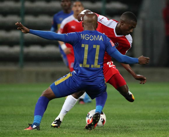 Bandile Shandu of Maritzburg United battles for the ball with Aubrey Ngoma of Cape Town City FC during the Absa Premiership 2016/17 football match between Cape Town City FC and Maritzburg United at Athlone Stadium, Cape Town on 22 November 2016 ©Chris Ricco/BackpagePix