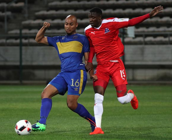 Robyn Johannes of Cape Town City FC evades challenge from Evans Rusike of Maritzburg United during the Absa Premiership 2016/17 football match between Cape Town City FC and Maritzburg United at Athlone Stadium, Cape Town on 22 November 2016 ©Chris Ricco/BackpagePix