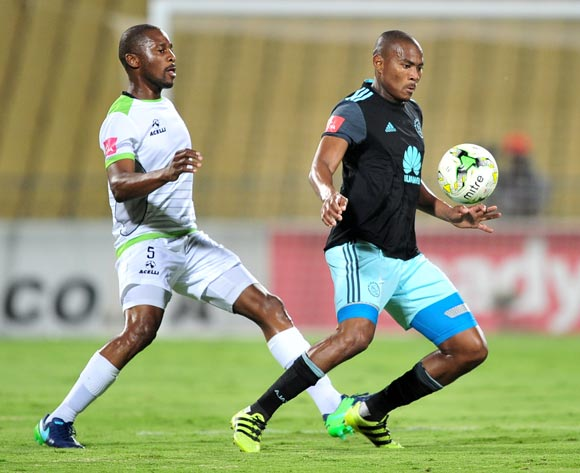 Prince Nxumalo of Ajax Cape Town controls ahead of Gift Sithole of Platinum Stars during the Absa Premiership 2016/17 game between Platinum Stars and Ajax Cape Town at Royal Bafokeng Stadium, Rustenburg on 22 November 2016 © Ryan Wilkisky/BackpagePix