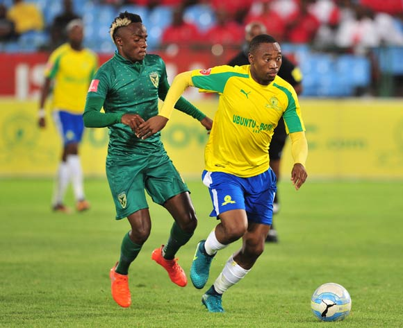 Sibusiso Vilakazi of Mamelodi Sundowns pulls away from Kudakwashe Mahachi of Golden Arrows during the Absa Premiership 2016/17 game between Mamelodi Sundowns and Golden Arrows at Loftus Stadium, Pretoria on 23 November 2016 © Ryan Wilkisky/BackpagePix