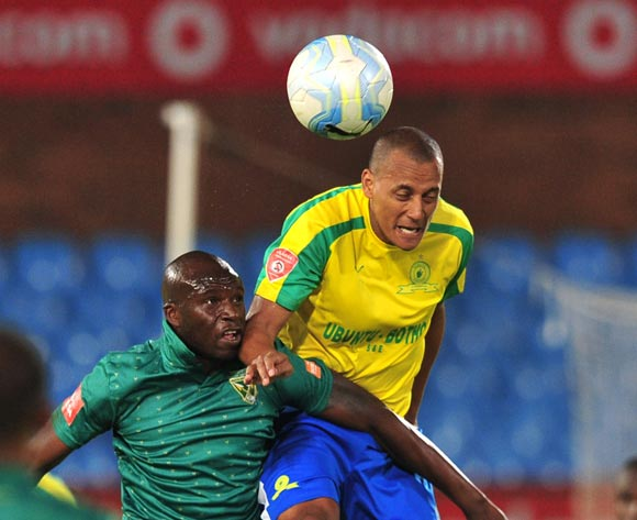 Wayne Arendse of Mamelodi Sundowns wins the aerial battle from Lerato Lamola of Golden Arrows during the Absa Premiership 2016/17 game between Mamelodi Sundowns and Golden Arrows at Loftus Stadium, Pretoria on 23 November 2016 © Ryan Wilkisky/BackpagePix