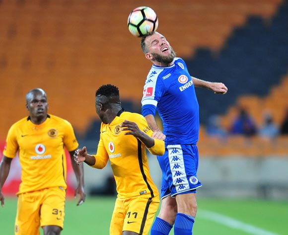 Jeremy Brockie of Supersport United challenged by Edmore Chirambadare of Kaizer Chiefs during the Absa Premiership match between Kaizer Chiefs and Supersport United at the FNB Stadium in Johannesburg on the 23 November 2016©Samuel Shivambu/Backpagepix
