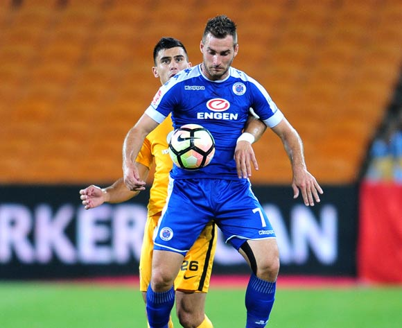 Bradley Grobler of Supersport United challenged by Lorenzo Gordinho of Kaizer Chiefs during the Absa Premiership match between Kaizer Chiefs and Supersport United at the FNB Stadium in Johannesburg on the 23 November 2016©Samuel Shivambu/Backpagepix