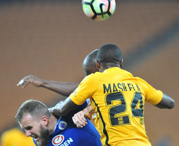 Jeremy Brockie of Supersport United challenged by Tsepo Masilela of Kaizer Chiefs during the Absa Premiership match between Kaizer Chiefs and Supersport United at the FNB Stadium in Johannesburg on the 23 November 2016©Samuel Shivambu/Backpagepix
