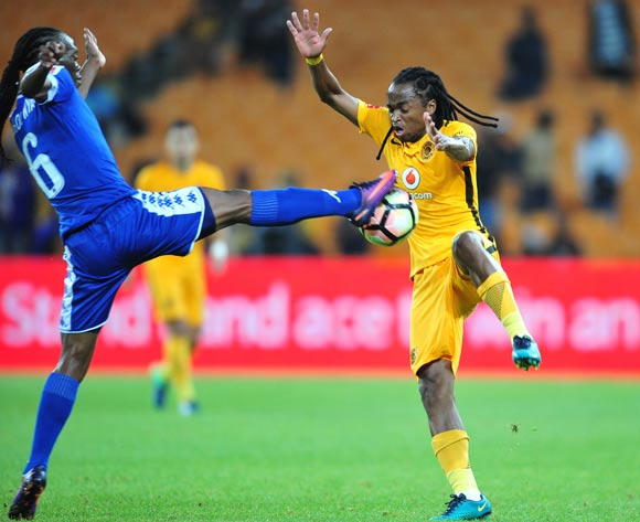 Siphiwe Tshabalala of Kaizer Chiefs challenged by Reneilwe Letsholonyane of Supersport United during the Absa Premiership match between Kaizer Chiefs and Supersport United at the FNB Stadium in Johannesburg on the 23 November 2016©Samuel Shivambu/Backpagepix