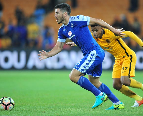 Michael Boxall of Supersport United challenged by George Lebese of Kaizer Chiefs during the Absa Premiership match between Kaizer Chiefs and Supersport United at the FNB Stadium in Johannesburg on the 23 November 2016©Samuel Shivambu/Backpagepix