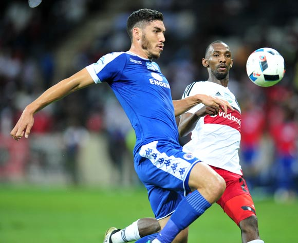 Michael Boxall of Supersport United challenged by Thabo Rakhale of Orlando Pirates during the 2016 Telkom Knockout match between the Supersport United and Orlando Pirates at the Mbombela Stadium in Nelspruit on the 26 November 2016©Samuel Shivambu/Backpagepix