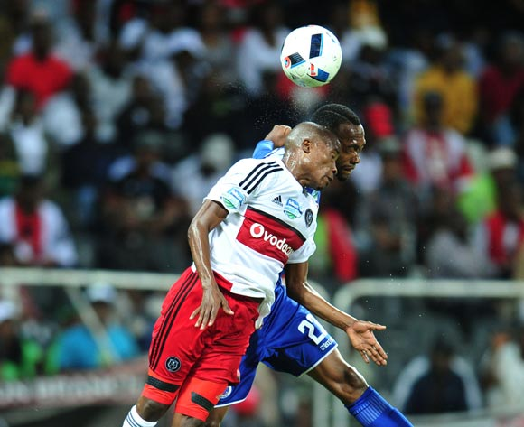 Luvoyo Memela of Orlando Pirates challenged by Thabo Mnyamane of Supersport United during the 2016 Telkom Knockout match between the Supersport United and Orlando Pirates at the Mbombela Stadium in Nelspruit on the 26 November 2016©Samuel Shivambu/Backpagepix