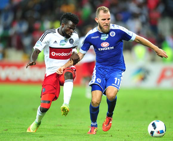 Jeremy Brockie of Supersport United challenged by Bernard Morrison of Orlando Pirates during the 2016 Telkom Knockout match between the Supersport United and Orlando Pirates at the Mbombela Stadium in Nelspruit on the 26 November 2016©Samuel Shivambu/Backpagepix
