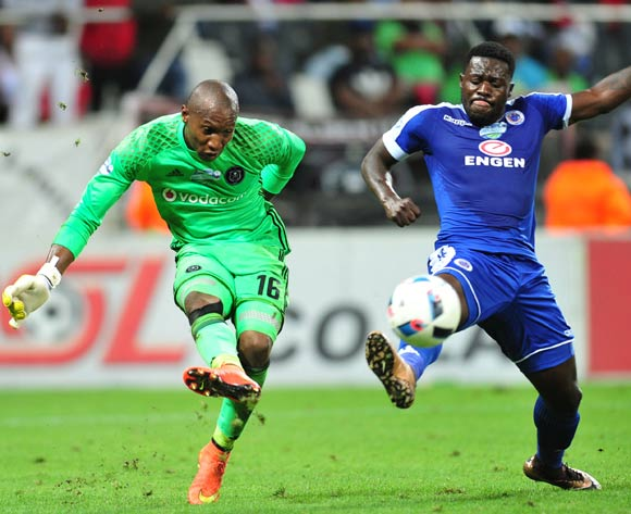 Jackson Mabokgwane of Orlando Pirates challenged by Kingston Nkhatha of Supersport United during the 2016 Telkom Knockout match between the Supersport United and Orlando Pirates at the Mbombela Stadium in Nelspruit on the 26 November 2016©Samuel Shivambu/Backpagepix