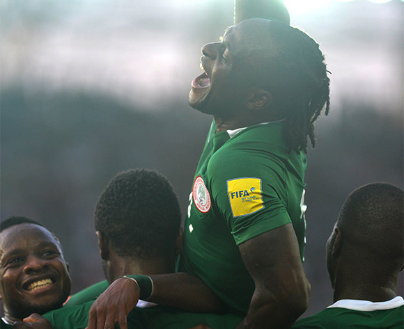 Victor Moses celebrates his goal against Algeria