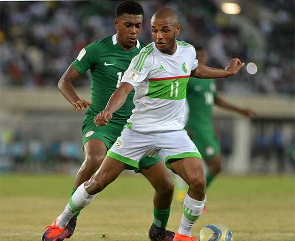 Yacine BRAHIMI of Algeria challenged by Alexander IWOBI of Nigeria during the Russia 2018 World Cup Qualifier match between Nigeria vs Algeria on November, 12th 2016 at Godswill Akpabio Stadium ©Kabiru Abubakar//Backpagepix