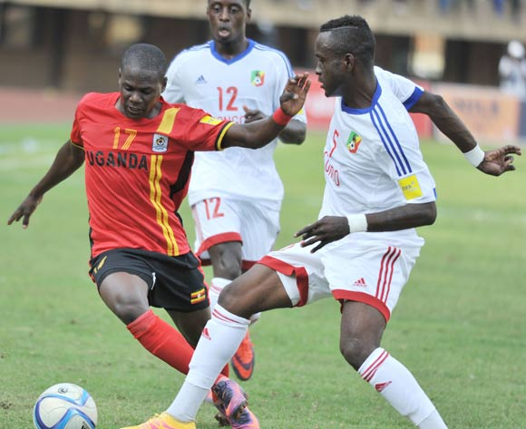 Bakoua Carof of Congo Brazzaville challenges Farouk Miya of Uganda during the 2018 World Cup Quarlifiers on 12 November 2016 at Mandela Stadium, Namboole. ©Ismail Kezaala/BackpagePix
