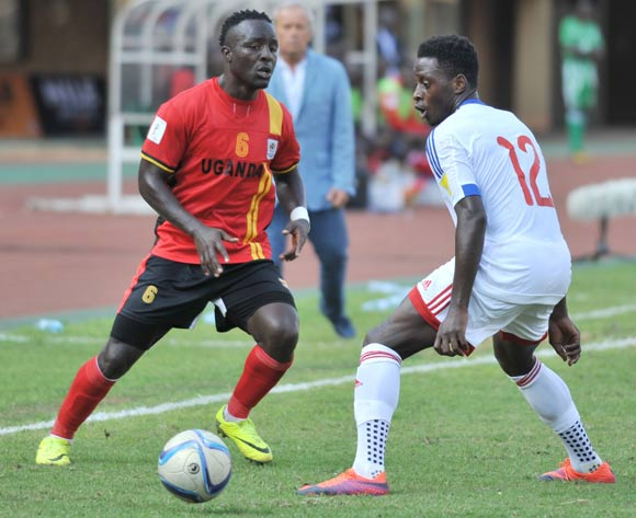 Bouka Moutou of Congo Brazzaville challenges Tonny Mawejje of Uganda during the 2018 World Cup Qualifiers on 12 November 2016 at Mandela Stadium, Namboole. ©Ismail Kezaala/BackpagePix