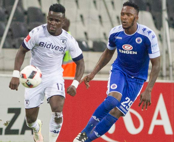 Gabadinho Mango of Wits and Morgan Gould of Supersport United during the Absa Premiership 2016/17 game between Supersport United and Bidvest Wits at Mbombela Stadium, Mpumalanga on 29 November 2016 © BackpagePix
