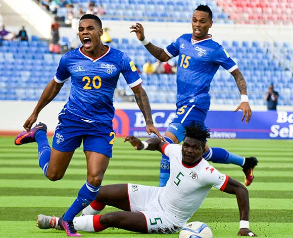 Cape Verde's player Garry Rodrigues (L) vies for the ball against Burkina Faso's player Malo Patrick (C) during their 2018 FIFA World Cup qualifying soccer match held at National Satdium Praia in Cidade da Praia, Cape Verde, 12 November 2016.  EPA/ENEIAS RODRIGUES