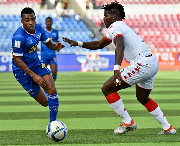 Cape Verde's player Garry Rodrigues (L) vies for the ball against Burkina Faso's player Malo Patrick (R) during their 2018 FIFA World Cup qualifying soccer match held at National Satdium Praia in Cidade da Praia, Cape Verde, 12 November 2016.  EPA/ENEIAS RODRIGUES