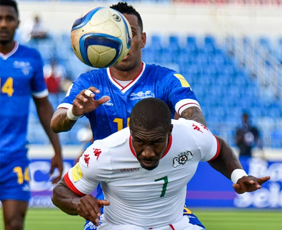 Cape Verde's player Nuno Rocha (B) vies for the ball against Burkina Faso's player Prejuce Nakoulma (F) during their 2018 FIFA World Cup qualifying soccer match held at National Satdium Praia in Cidade da Praia, Cape Verde, 12 November 2016.  EPA/ENEIAS RODRIGUES