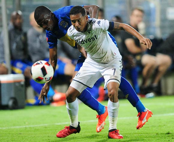 Thamsanqa Mkhize of Cape Town City challenges Daine Klate of Bidvest Wits during the Absa Premiership 2016/17 game between Bidvest Wits and Cape Town City at Bidvest Stadium, Johannesburg on 02 December 2016 © Aubrey Kgakatsi/BackpagePix