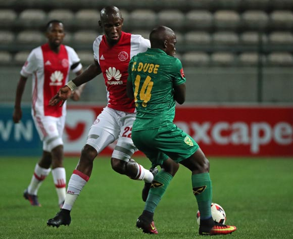 Mark Mayambela of Ajax Cape Town battles for the ball with Siyabonga Dube of Golden Arrows during the Absa Premiership 2016/17 football match between Ajax Cape Town and Golden Arrows at Athlone Stadium, Cape Town on 3 December 2016 ©Chris Ricco/BackpagePix