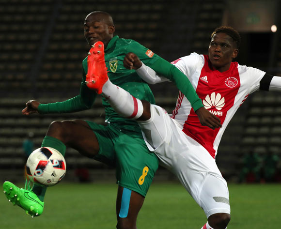 Nkanyiso Cele of Golden Arrows battles for the ball with Ndiviwe Mdabuka of Ajax Cape Town during the Absa Premiership 2016/17 football match between Ajax Cape Town and Golden Arrows at Athlone Stadium, Cape Town on 3 December 2016 ©Chris Ricco/BackpagePix