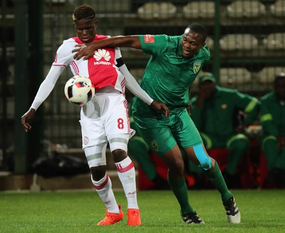 Ndiviwe Mdabuka of Ajax Cape Town battles for the ball with Kagisho Dikgacoi of Golden Arrows during the Absa Premiership 2016/17 football match between Ajax Cape Town and Golden Arrows at Athlone Stadium, Cape Town on 3 December 2016 ©Chris Ricco/BackpagePix