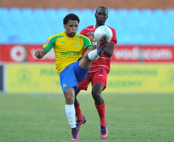 Keagan Dolly of Mamelodi Sundowns challenged by Nyiko Mobbie of Free State Stars during the Absa Premiership 2016/17 match between Mamelodi Sundowns and Free State Stars at Loftus Stadium, Pretoria  South Africa on 03 December 2016 ©Muzi Ntombela/BackpagePix
