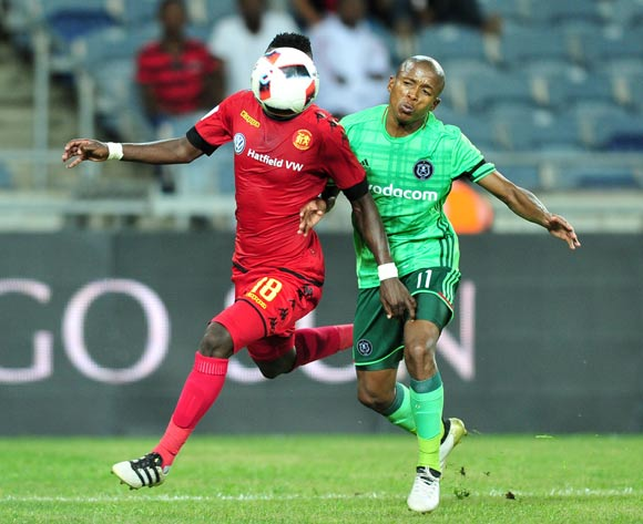 Seun Ledwaba of Highlands Park challenged by Luvuyo Memela of Orlando Pirates during the La Liga Activation at the Nelson Mandela Square in Johannesburg on the 03 December 2016©Samuel Shivambu/Backpagepix