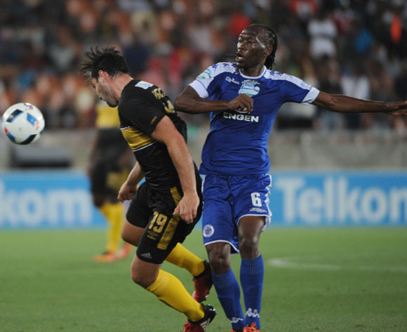 Reneilwe Letsholonyane of Supersport Unitedchallenges Ronald Putsche of Cape Town City during the Telkom Knockout Cup Final match between Cape Town City and Supersport United  10 December 2016 at Peter Mokaba StadiumPic Sydney Mahlangu/ BackpagePix
