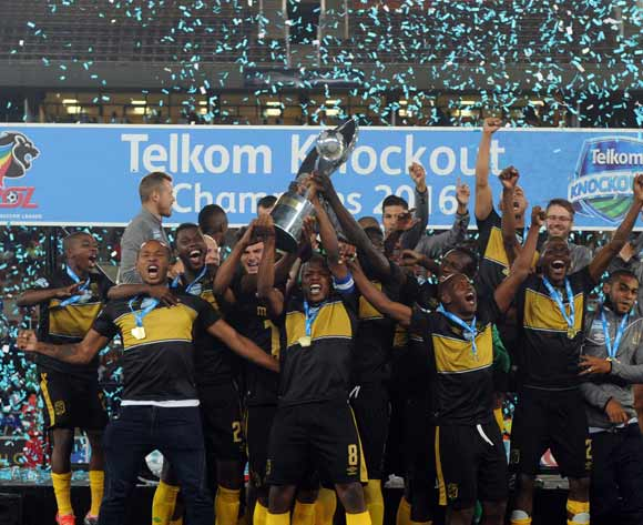 Cape Town City celebrates winning the Cup  during the Telkom Knockout Cup Final match between Cape Town City and Supersport United  10 December 2016 at Peter Mokaba StadiumPic Sydney Mahlangu/ BackpagePix