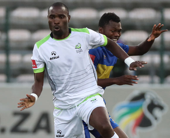 Robert Ngambi of Platinum Stars evades challenge from Thato Mokeke of Cape Town City FC during the Absa Premiership 2016/17 football match between Cape Town City FC and Platinum Stars at Athlone Stadium, Cape Town on 13 December 2016 ©Chris Ricco/BackpagePix